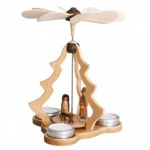 Teelichtpyramide klein natur, Christi GeburtZeidler Holzkunst