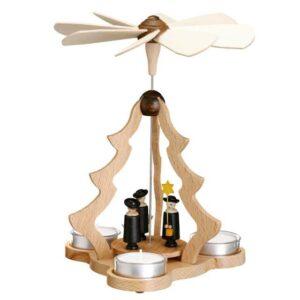 Teelichtpyramide klein natur mit KurrendeZeidler Holzkunst